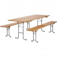 Table pliante et 2 bancs pliants PLUS 740x2200x800mm