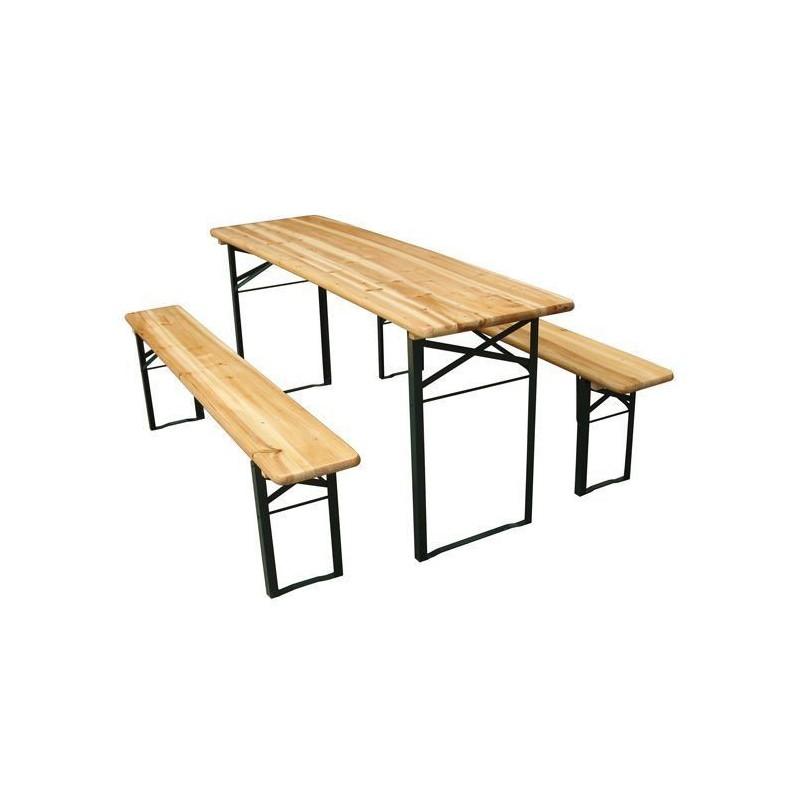 Table pliante et 2 bancs pliants 740x2200x800mm 14e5cd3ea5a2