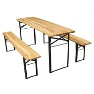Table pliante et 2 bancs pliants 740x2200x800mm